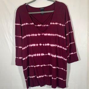 Torrid Purple & White Tie-Dye Top size 2